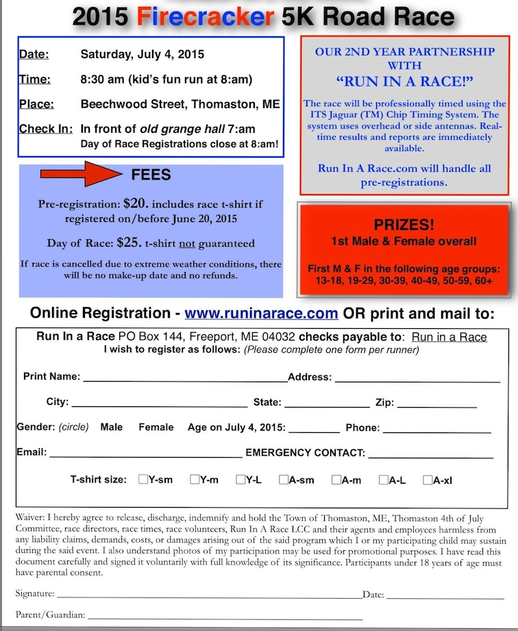 Firecracker                   Races 2015 Entry Form Flyer, Thomaston Maine