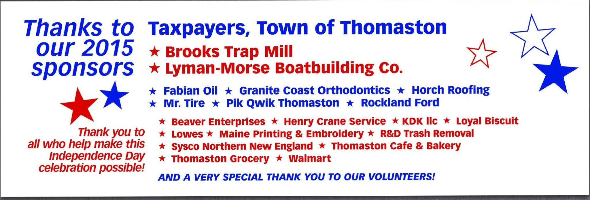 Thomaston                   4th of July Sponsors 2015 Banner