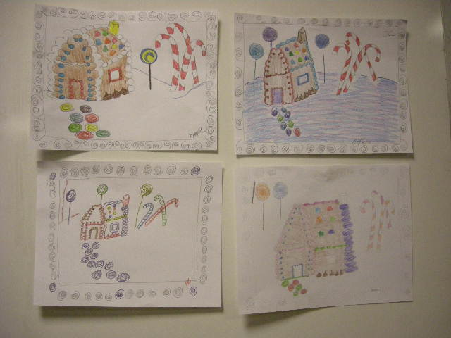 Gingerbread house drawings by adults