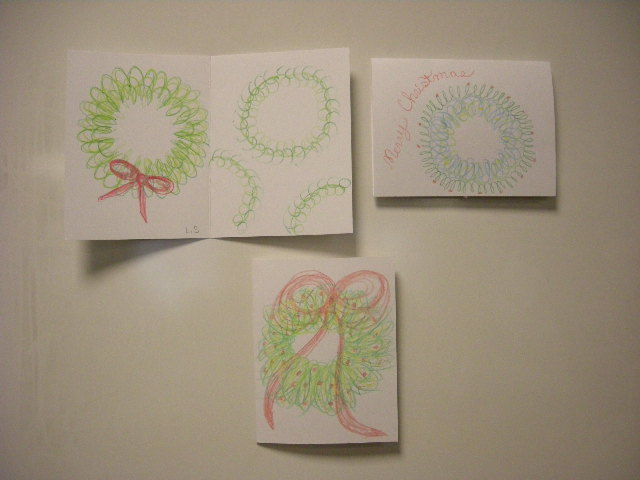 Christmas wreath calligraphy cards by adult students