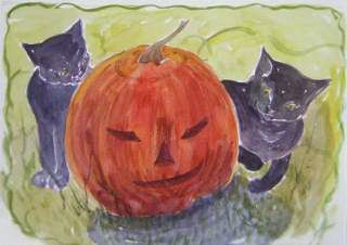 painting of black cats and jack-o-lantern