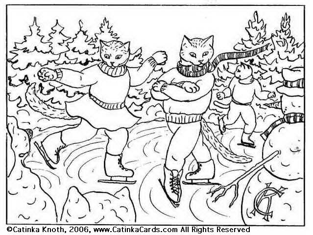 Winter Sports Cat Coloring Pages Skaters