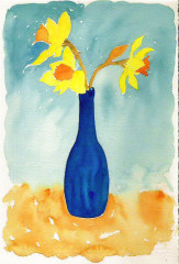 daffodils in blue bottle, cerulean