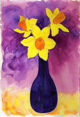 daffodils in blue bottle, purple