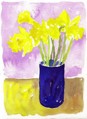 daffodils in blue glass