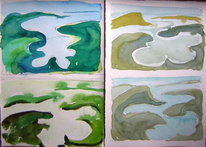 quick green landscape paintings