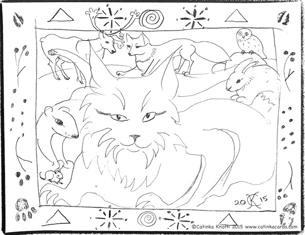 arctic animals drawing by Catinka Knoth 2015