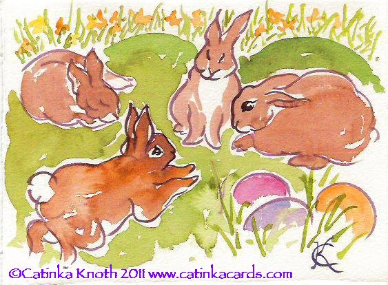 Easter rabbits & eggs watercolor
