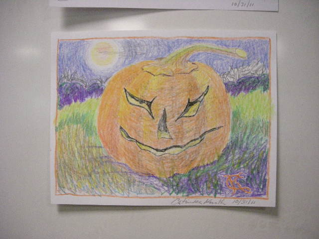 Halloween jack-o-lantern crayon drawing by Catinka Knoth