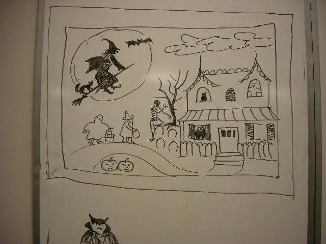 Halloween scene demo drawing by Catinka Knoth