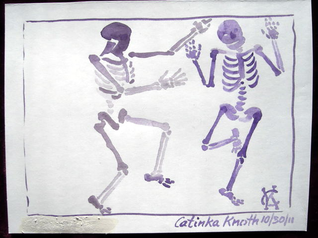 Halloween skeleton dance art by Catinka Knoth
