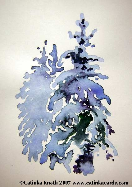 snowy evergreens watercolor
