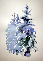 winter trees watercolor