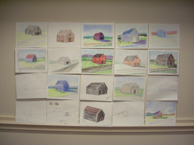 Harjula's barn, student drawings, adult class, Sept. 2015
