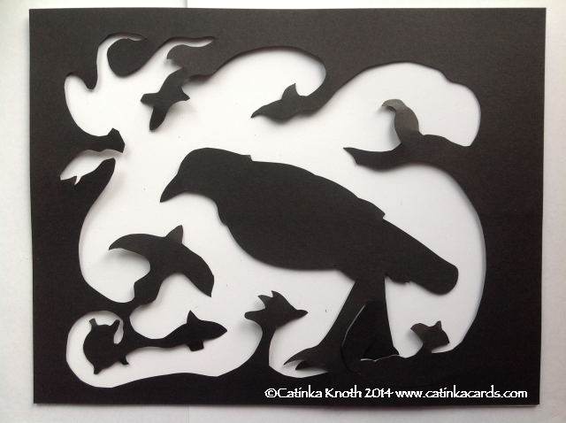 Black crow papercut by Catinka Knoth