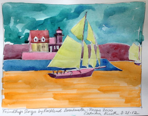 rockland breakwater and sloop watercolor, art by Catinka Knoth