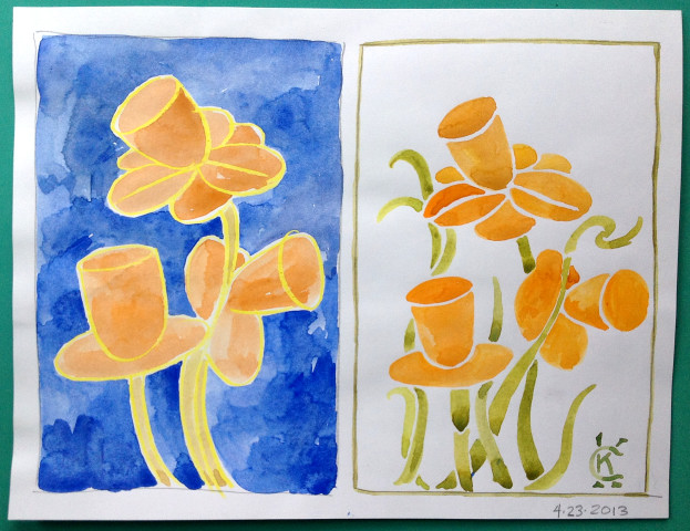 April Spring and Easter art by Catinka Knoth 05 daffodils