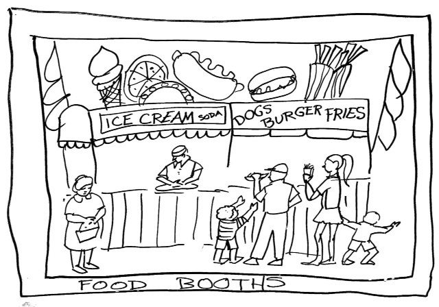 Food booths demo drawing by Catinka Knoth