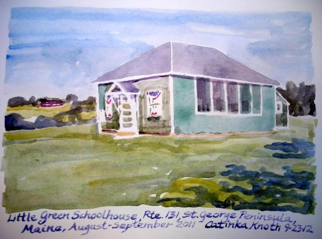 green schoolhouse watercolor by Catinka Knoth