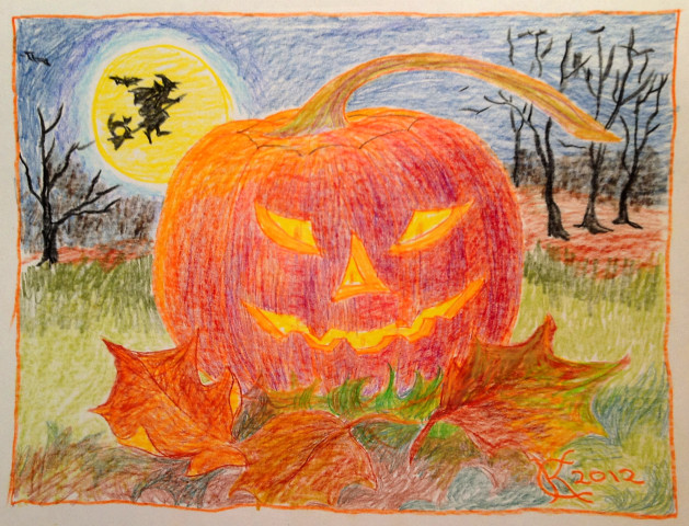 Halloween Jack-O-Lantern and flying witch, drawing by Catinka Knoth