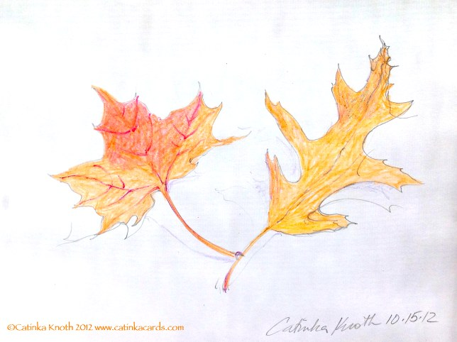 Fall Leaves Crayon drawing by Catinka Knoth
