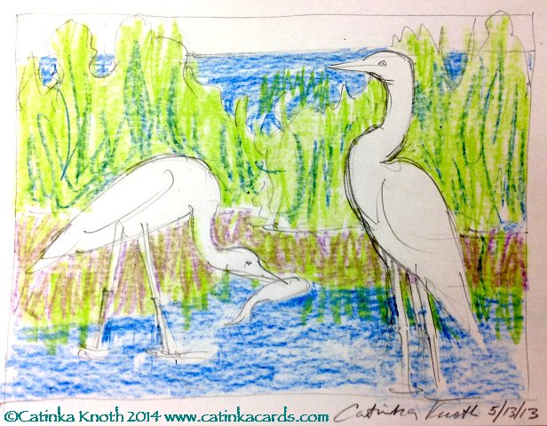 Egrets marsh scene crayon drawing by Catinka Knoth