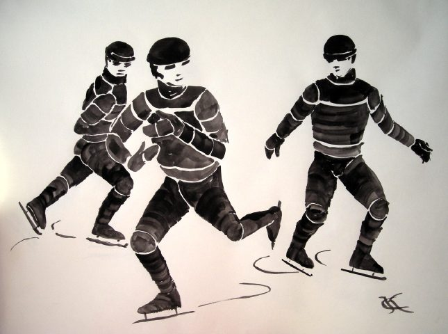 winter scenes skaters demonstration art by Catinka Knoth
