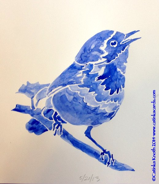 warbler whiteline watercolor in blue by Catinka Knoth