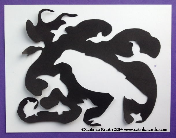 White ice crow papercut by Catinka Knoth
