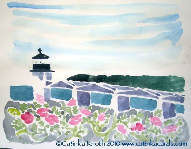 Marshall                                     Point Light with Beach Roses, Port Clyde Maine watercolor by Catinka Knoth