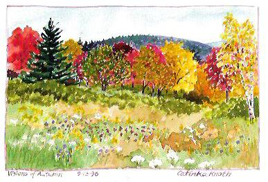 Autumn scene watercolor by Catinka Knoth