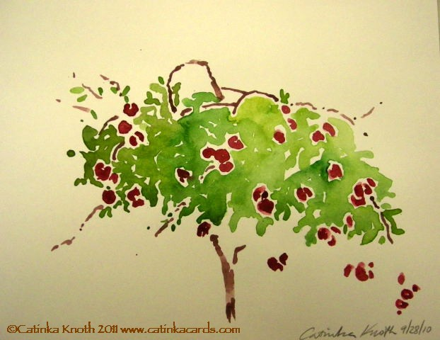 apple tree watercolor by Catinka Knoth