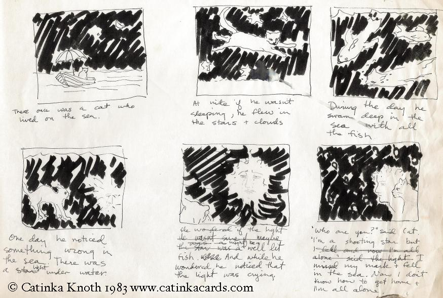 cat sea story storyboard sheet 1