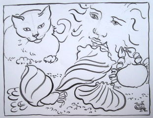 cat & Star drawing