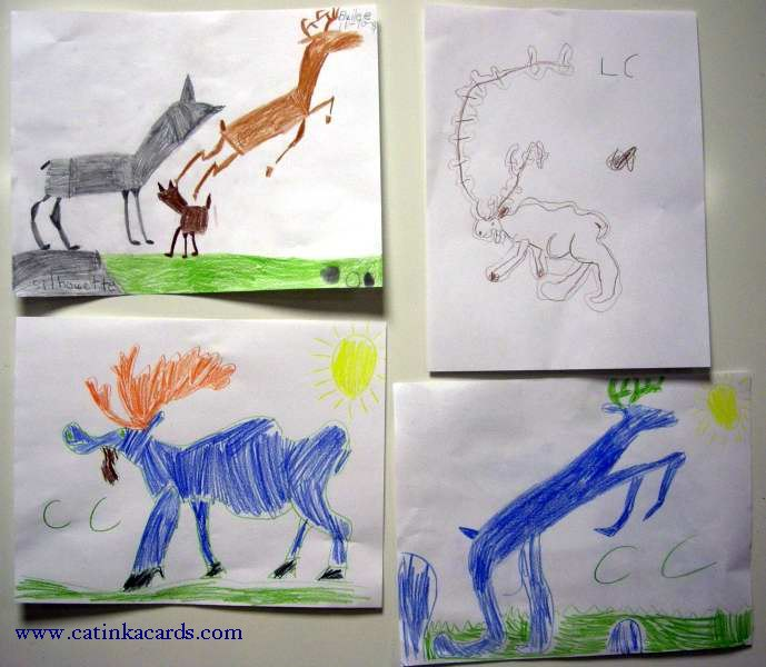kids' deer & moose art