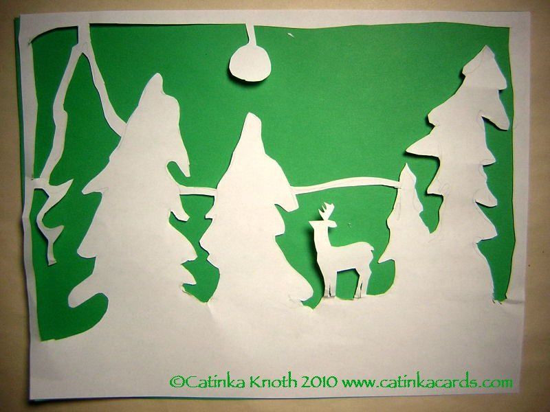 deer & winter moon papercut