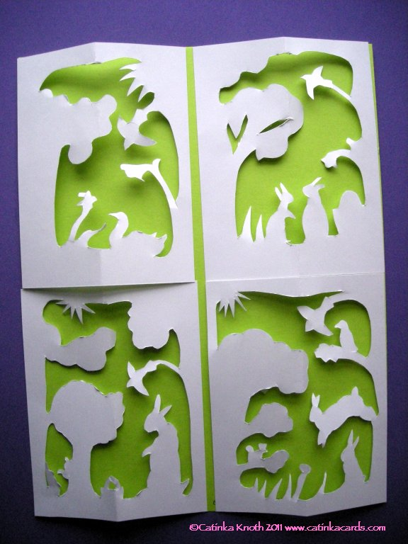 rabbits Easter papercut cards group 1
