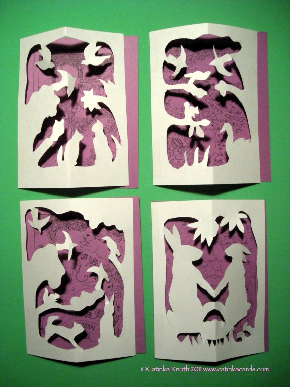 rabbits Easter papercut cards group 2