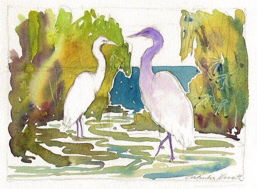 egrets watercolor