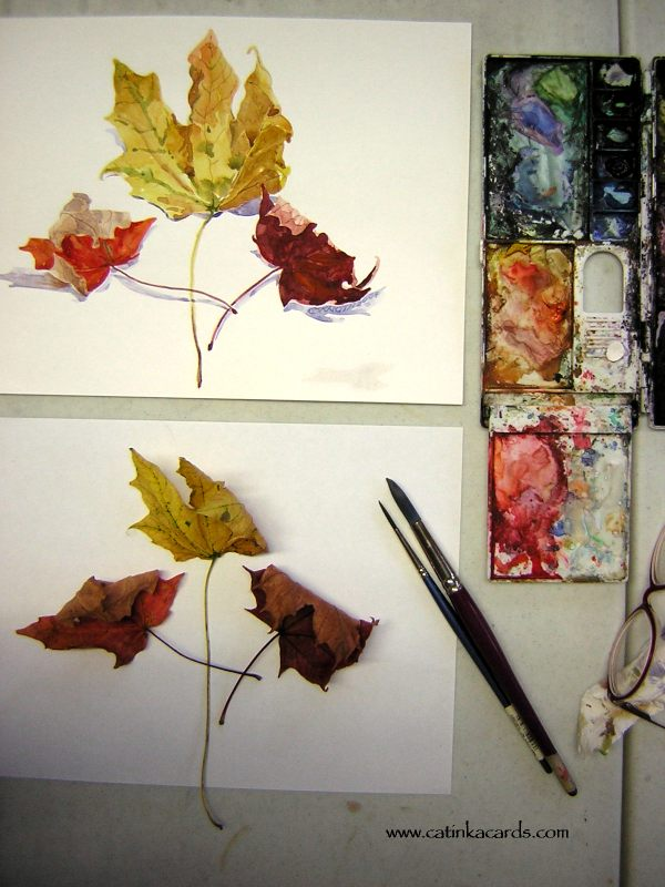 photo of fall leaves watercolor and still life with palette & brushes by Catinka Knoth