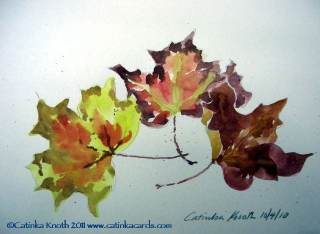 fall leaves watercolor by Catinka Knoth