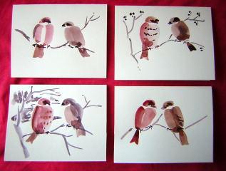 Sumie bird paintings