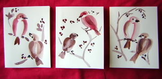 Sumie bird paintings