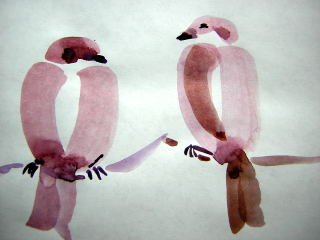 sumi-e bird painting by Catinka Knoth