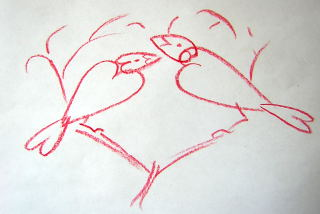 bird drawing with heart shapes