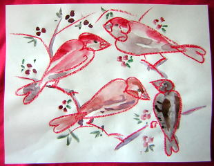 birds in crayon and wash drawing