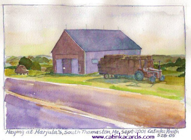 Maine barn & haying scene watercolor