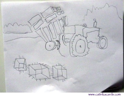 Hay & tractor kids drawing