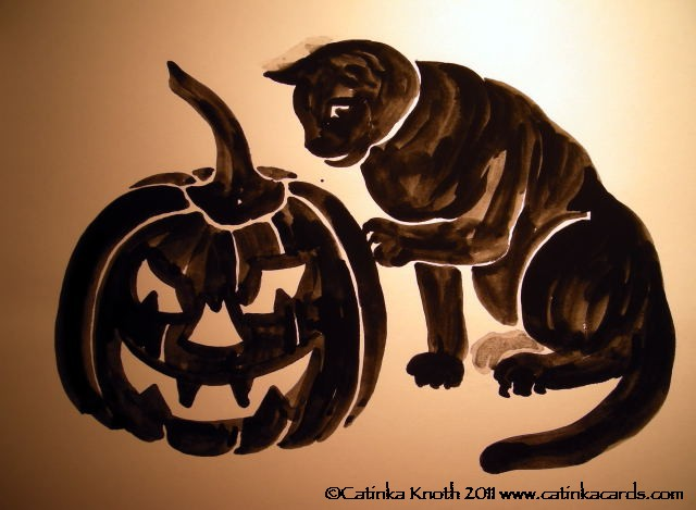 Halloween Jack-O-Lantern and Black Cat watercolor by Catinka Knoth