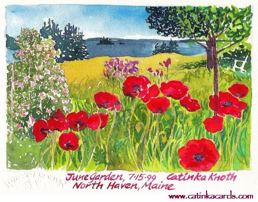 watercolor of poppies by Catinka Knoth